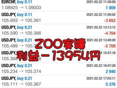 FX自動売買+裁量の最強システムZOO2月の月報。実績